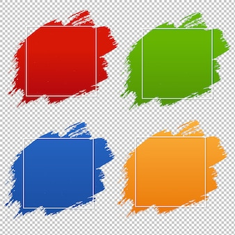 Colorful blobs banner set transparent background