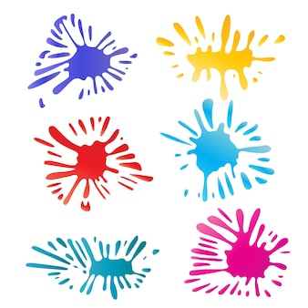 Красочные капли краски цветные чернила splat