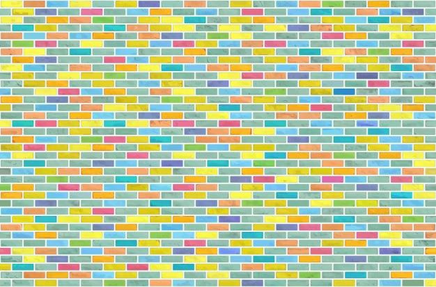 カラフルなブロックレンガの壁パターンテクスチャ背景。