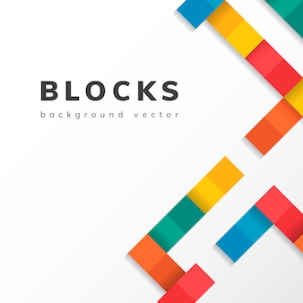 Colorful blocks on blank white background vector