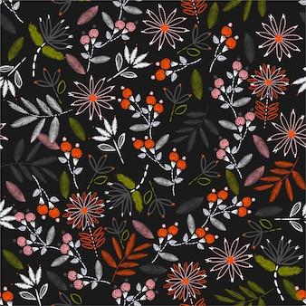 繊細な刺繍シームレスパターン花柄のカラフルな咲く家の装飾、ファッション、布、壁紙、およびすべての版画のためのベクトル手ステッチムードデザイン