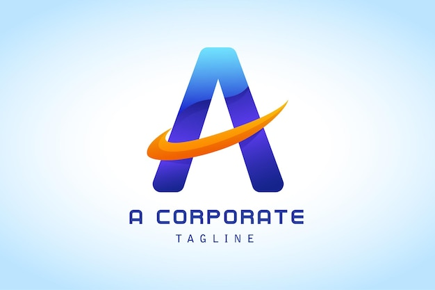 Colorful blue letter a with orange tick gradient logo for company