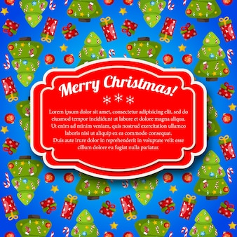 Colorful blue merry christmas postcard with red text field
