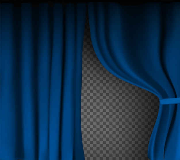 Colorful blue velvet curtain folded on a transparent background