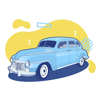 Colorful blue and yellow vintage old car background