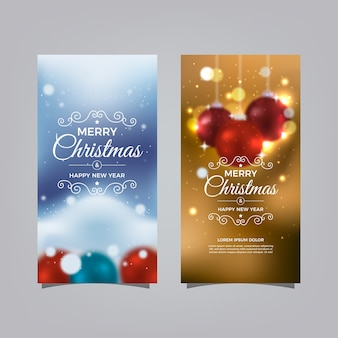 Colorful blurred christmas banners