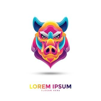 Шаблон логотипа красочный кабан
