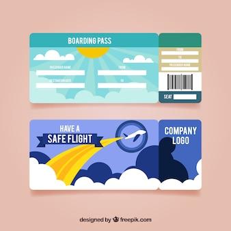 평면 디자인에 화려한 탑승권 템플릿