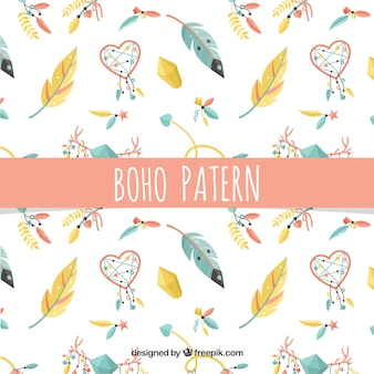 Colorful boho pattern with flat feathers