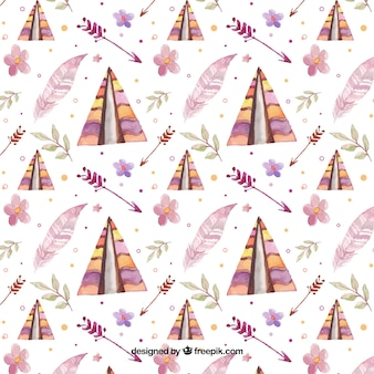 Colorful boho pattern with watercolor elements