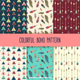 Colorful boho patterns collection