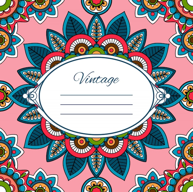 Colorful boho style greeting card