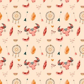화려한 boho 스타일 패턴 디자인