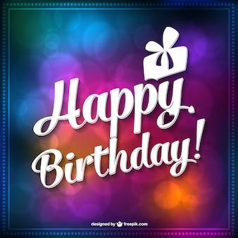Colorful bokeh birthday card