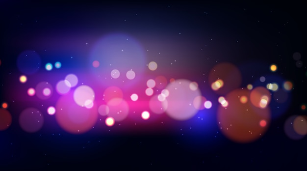 Colorful bokeh lights on dark background