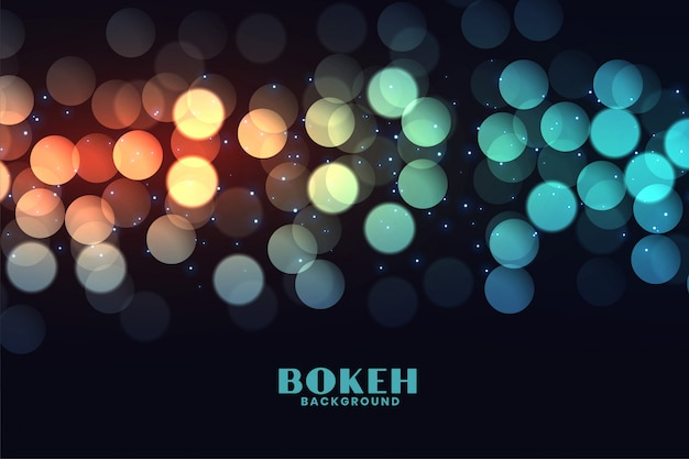 Colorful bokeh lights effect black background