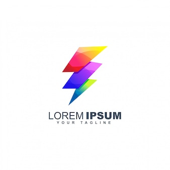 Colorful bolt logo design template