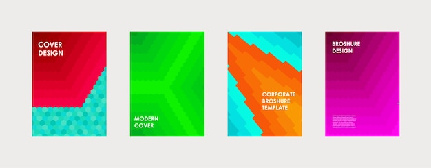 Colorful book cover design. poster, corporate business annual report, brochure, magazine, flyer mockup. green, pink, blue, orange a4 template. halftone gradients. modern geometric pattern. vector.