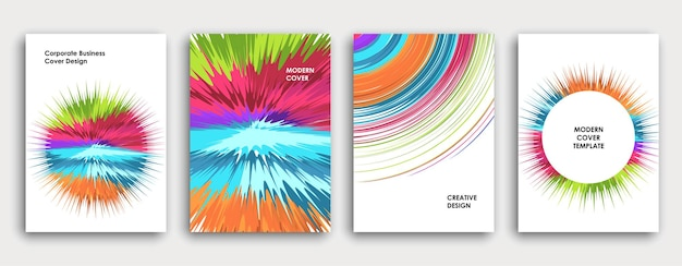 Colorful book cover page design. abstract background. paint explosion. poster, corporate business annual report, a4 brochure, creative magazine mockup. bright brush strokes. multi-colored vector.