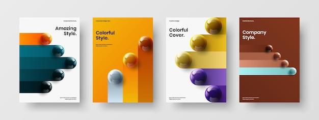 Цветной буклет а4 в векторном дизайне, набор макетов