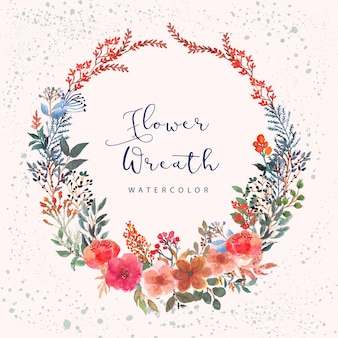 Colorful botanical floral watercolor wreath