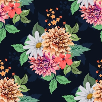 暗い色のカラフルな植物のシームレスな花柄
