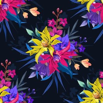 어둠에 다채로운 식물 원활한 꽃 패턴 프리미엄 벡터