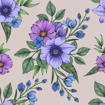 다채로운 식물 원활한 플로랄 패턴