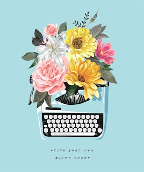 タイプライターイラストの花のカラフルな花束