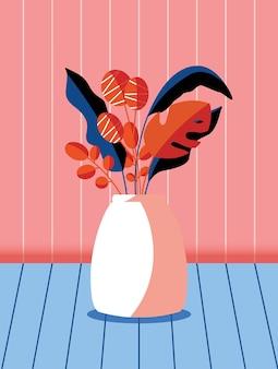 花瓶に春の花と枝のカラフルな花束。スタイリッシュな芸術的な縦のイラスト。