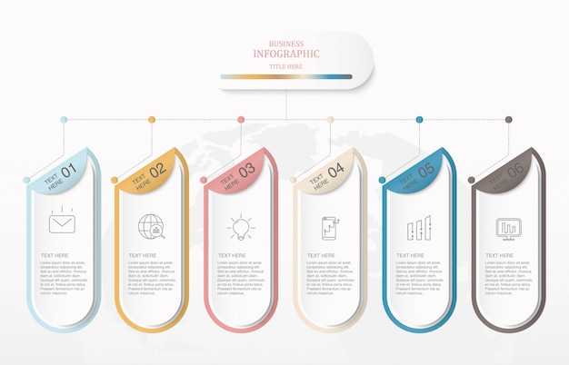 Colorful box and icons infographics.