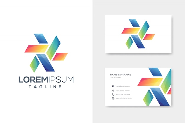 Colorful box origami logo with business card design