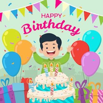 Colorful boy birthday celebration background