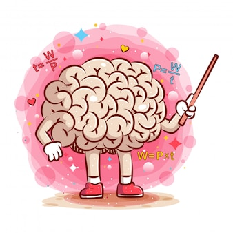 Colorful brain illustration with formula around of illustration