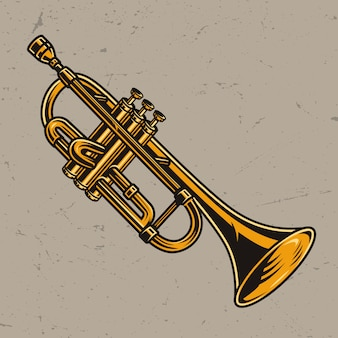 Colorful brass trumpet concept