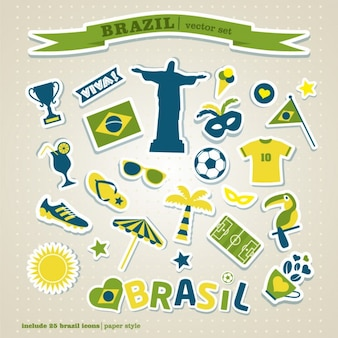 Colorful brazil icon set
