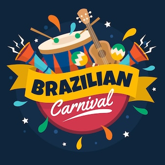 Colorful brazilian carnival event illustration with festive elements