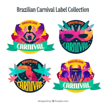 Colorful brazilian carnival labels