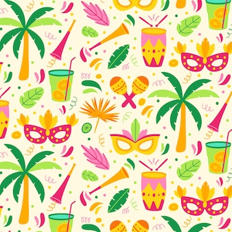 Colorful brazilian carnival pattern flat design