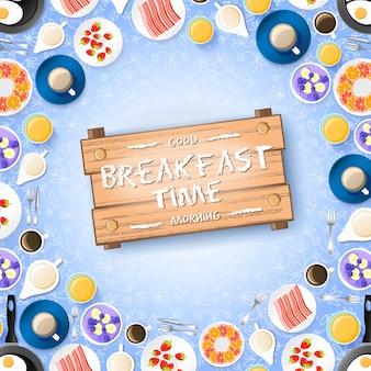 Красочная концепция завтрака с вкусными десертами, ягодами, омлетом и горячими напитками на светлой иллюстрации