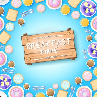 Colorful breakfast concept with tasty desserts berries omelette and hot drinks on light illustration