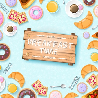 Colorful breakfast template with donuts cup of coffee kitchen tools cookies and croissants illustration