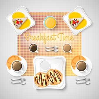 Modello colorato colazione con ciambelle tazza di caffè utensili da cucina biscotti e croissant illustrazione