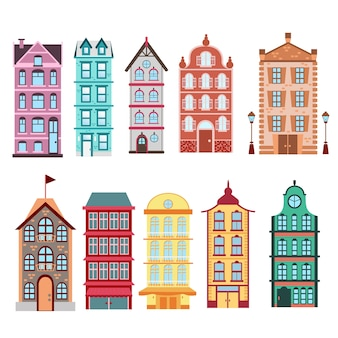 Colorful and bright amsterdam, dutch city s houses set on white background  illustration in  .