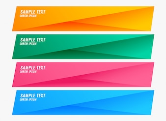 Colorful bright banners set with text space