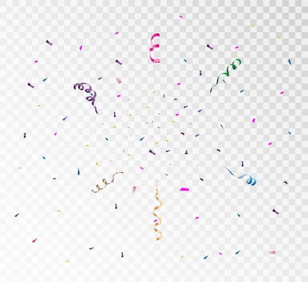 Красочные яркие конфетти, изолированные на прозрачном фоне. праздничная иллюстрация