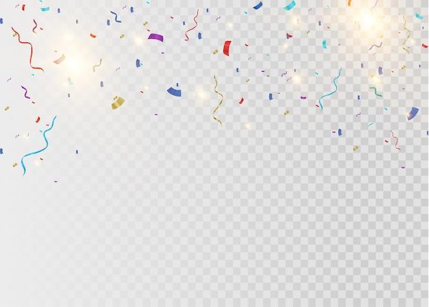 透明な背景に分離されたカラフルな明るい紙吹雪