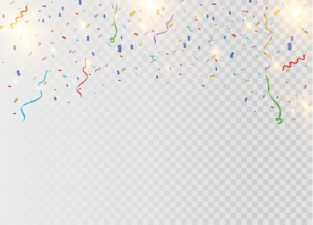 Colorful bright confetti isolated on transparent background