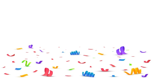 Colorful bright confetti isolated on transparent.