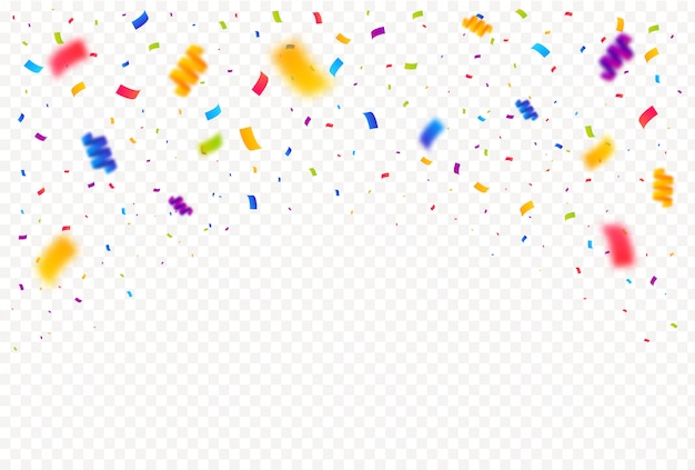Colorful bright confetti pieces isolated white background.